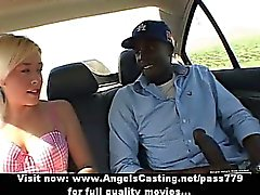 Hot blonde teen doing blowjob to a black man