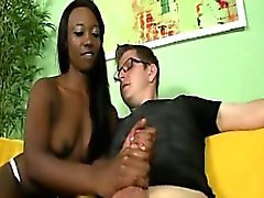 Black nubian teen jerking white guys dong