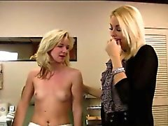 Blonde MILF shows daughter how to suck