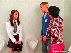 Teacher catches young couple in the bathroom