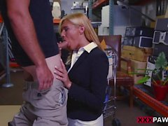 Hot blond milf drilled by nasty pawn guy