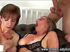 British milf gets her face covered in cum