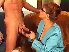 Milf in Glasses and Fishnets Fucks