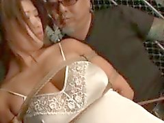 Busty japanese sex slave in ropes gets lingerie cut off