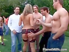 Outdoor group sex action with hot blonde