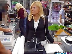 Hot milf fucked for quick cash in pawn shop