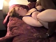 Brunette milf in stockings rides a big black cock