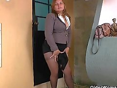 Office milfs Allison and Maribel peel off their pantyhosed panties