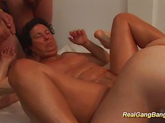 Randy amateurs fucked in gangbang