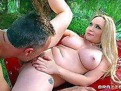 Buxom BBW mom Aiden Starr takes dick in the open air