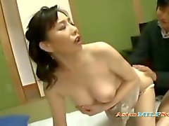 Asian woman gives a very sensual passionate blowjob