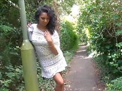 Flashing ebony milf Mels black public nudity and outdoor