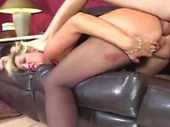 Big booty blonde gets hard cock bent over the sofa