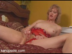 Red lingerie is hot on this hairy pussy mommy