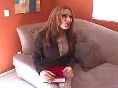 Clothed mom on her knees getting face fucked