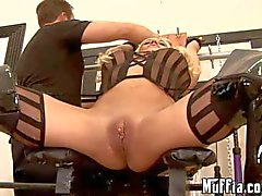 MILF with big clit gets flogged