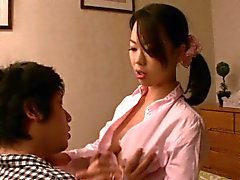 Japanese milf tugging and sucking before cumshot