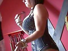 Busty brunette milf mistress torturing pathetic slave sweet cock