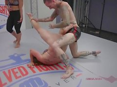 Bella Rossi gives it her all in this mixed gender, winner fucks loser match