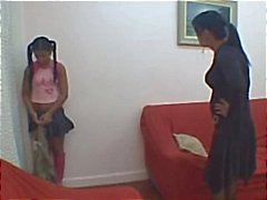 Latina mom Spanks and punishes girl