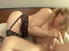 Naughty Nina Hartley sucks everything out of my young cock
