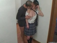 Tiny Japanese teen girl loves horny old