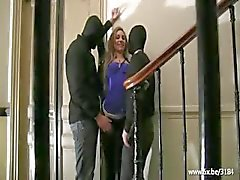 Sheryl double fucked in a building entrance