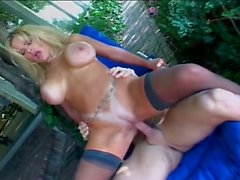 Enormously large tits blonde milf opens wide for outdoor fucking
