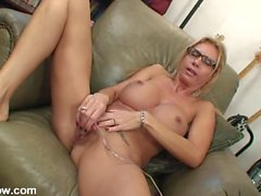 Naked big boobs milf and her little vibrator playing