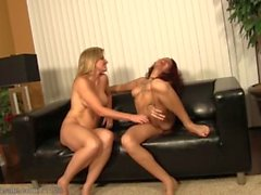 Blonde versus Brunette - Tickle Fight on the Couch