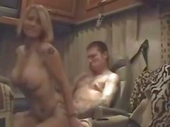 Tattooed blonde wife gets hammered by her equally inked hubby