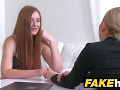 Female Agent Hot redhead makes blonde sexy cum with her mouth