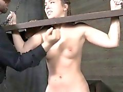 Pathetic sub gagged and spanked by master