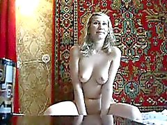 Aroused Russian hussy with great body sucks my hard dick