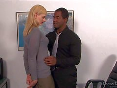 Blond MILF Darryl Hanah gets seduced by Her black boss