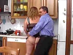 Fucking a chubby in the kitchen