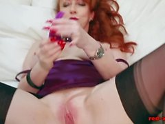 Redhead In Lingerie Masturbates And Vibrates Her Pussy On The Bed