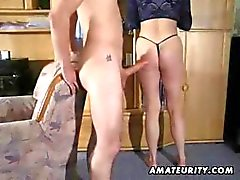 Amateur chubby mature redhead gets a young boy to bang her