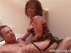 Kinky brunette MILF sucks cock and gets fucked in her wet pussy